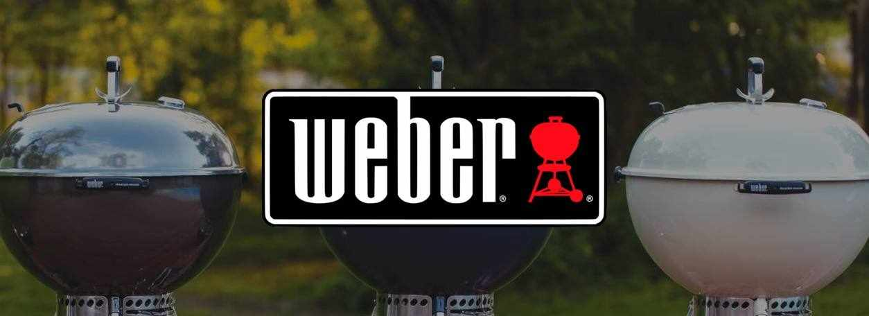 Weber logo with three Weber grills in background