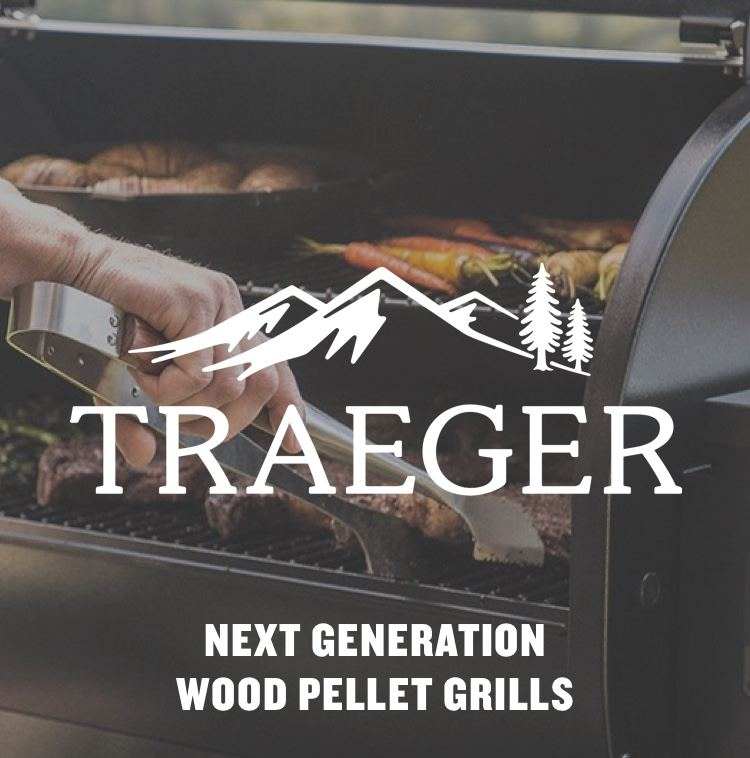 """Man grilling on Traeger grill with logo - """"Next Generation Wood Pellet Grills"""""""